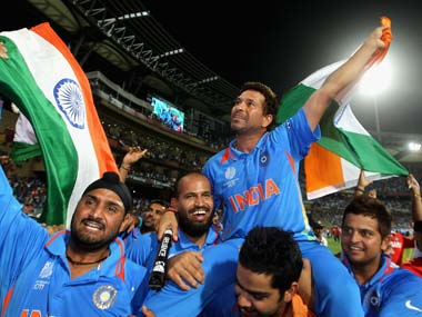 Sachin Tendulkar of India is chaired around the field by team mates as they celebrate victory after the 2011 ICC World Cup Final. Hamish Blair/Getty Images