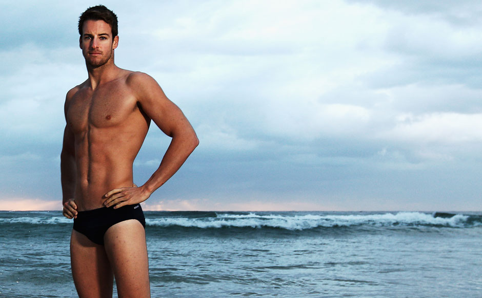 James Magnussen of Australia poses during an Australian swimming portrait session on Manly Beach. Getty Images