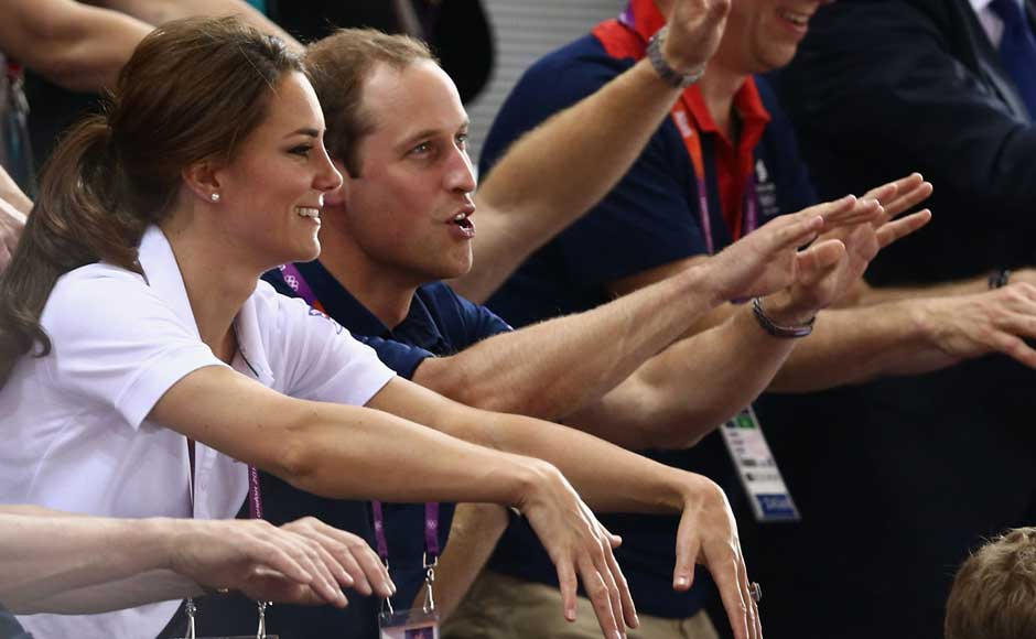 Catherine, Duchess of Cambridge and Prince William, Duke of Cambridge watch on during Day 6 of the London 2012 Olympic Games at Velodrome. Quinn Rooney/Getty Images