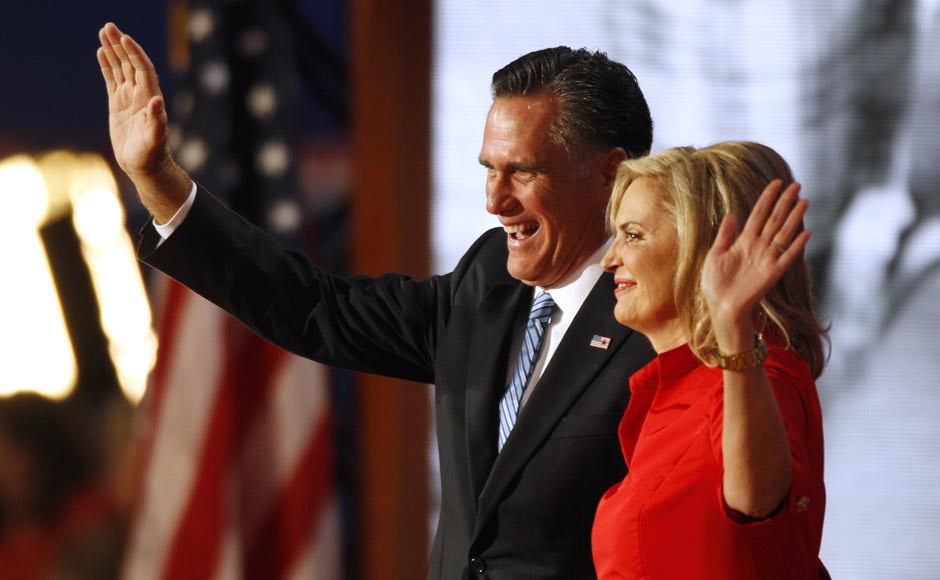 Republican presidential nominee Mitt Romney and his wife Ann wave to delegates following her speech at the Republican National Convention. Lynne Sladky/AP