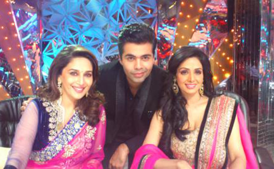 Madhuri Dixit, Karan Johar and Sridevi on the sets of Jhalak Dikhla Jaa 5. Courtesy: Karan Johar's twitter account