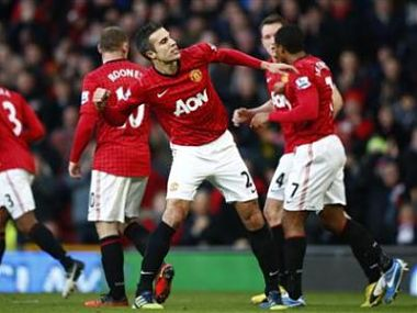 Manchester United's van Persie celebrates his goal against Sunderland during their English Premier League soccer match in Manchester. Reuters