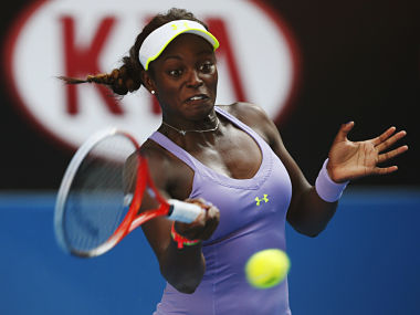 Sloane Stephens of the U.S. hits a return to Bojana Jovanovski of Serbia during their women's singles match at the Australian Open tennis tournament in Melbourne. Reuters