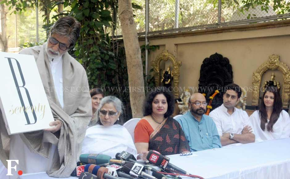 Amitabh Bachchan, wife Jaya, son Abhishek, daughter-in-law Aishwarya, filmmaker Govind Nihalani and Bhagyashri Dengle from Plan India. Sachin Gokhale/ Firstpost