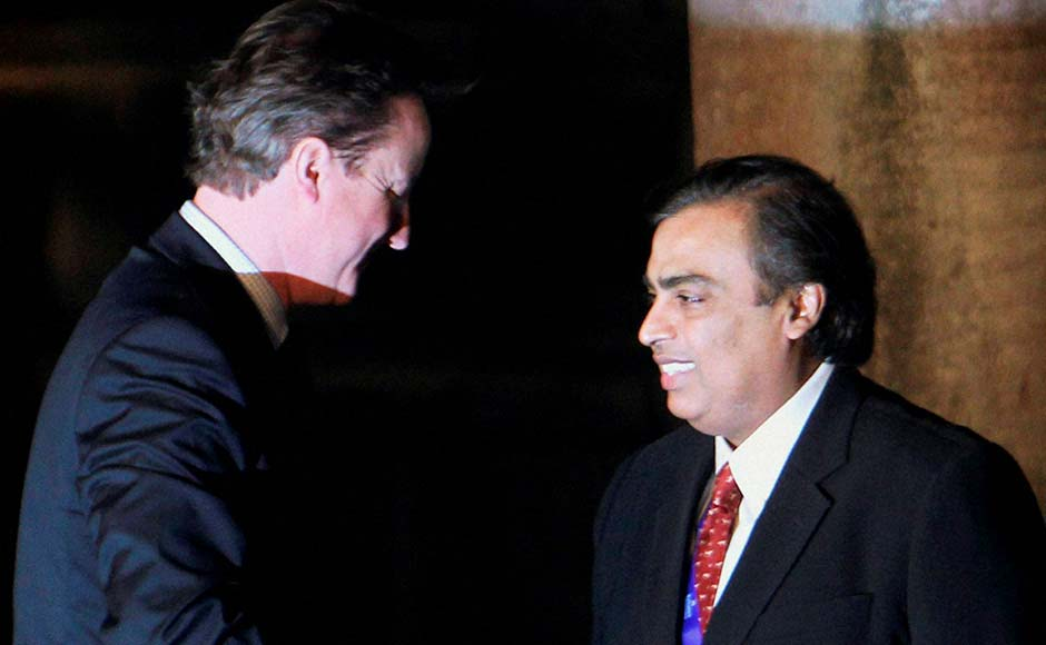 British Prime Minister David Cameron with Mukesh Ambani at the Chatrapati Shivaji Museum in Mumbai. PTI