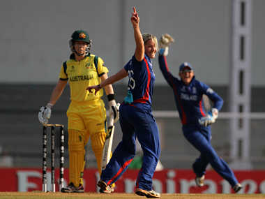 England's Katherine Brunt is currently the highest wicket-taker at the World Cup. ICC/Solaris Images