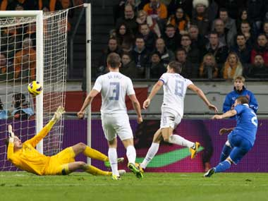 Veratti's injury-time goal saved the blushes for Italy. Reuters