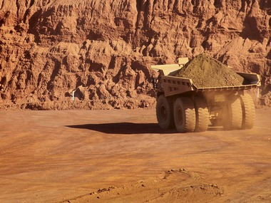 A tipper truck operates at Fortescue Metals Cloudbreak iron ore mine