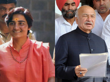 Sadhvi Thakur and Sushil Kumar Shinde: Did Shinde jump the gun on Hindu terror? PTI/AFP.