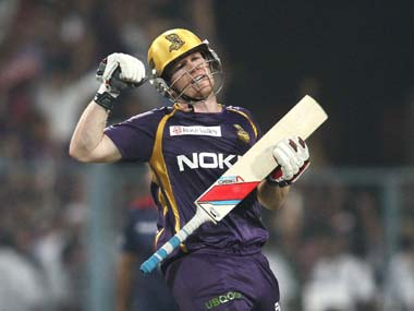 Eoin Morgan of the Kolkata Knight Riders celebrates after hitting the winning runs. BCCI