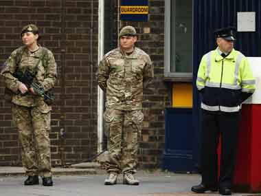 Security is tightened around Woolwich Barracks on 23 May 2013 in London. Getty Images