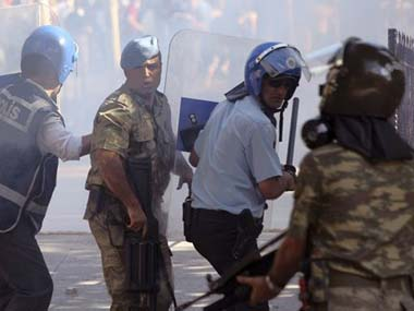 Police officials in Ankara. AP image