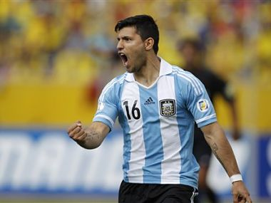 Argentina's Sergio Aguero celebrates his goal against Ecuador. AP