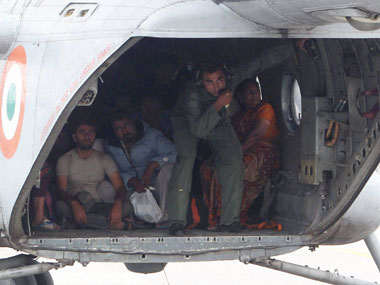 An Indian Air Force chopper air-lifts stranded pilgrims at Guptakashi near flood-hit Kedarnath in Uttrakhand. PTI