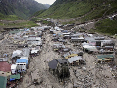 An aerial view of Kedarnath submerged in flood waters. AP