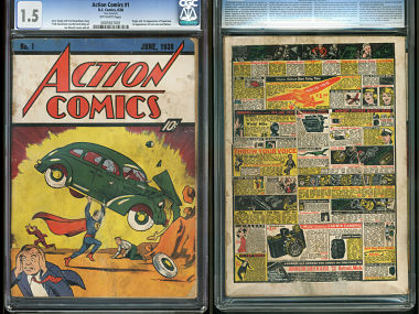 "The front and back cover of ""Action Comics No. 1"" from 1938, featuring the debut of Superman.  AP"