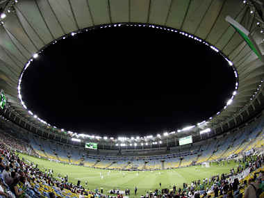 A general view of an exhibition soccer match during the re-opening of the newly renovated Macarana Stadium. Reuters