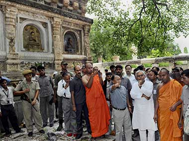 Bihar CM Nitish Kumar at the blast site in Bodh Gaya: PTI