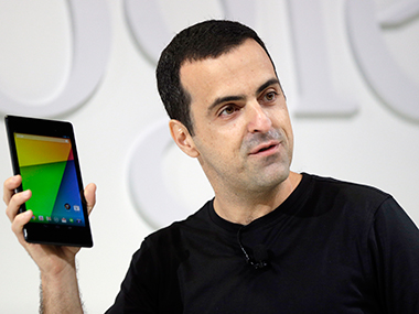 Google's Hugo Barra shows off the new Nexus 7 in this photo. AP