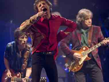 The Rolling Stones perform on the Pyramid main stage at Glastonbury, England. AP image