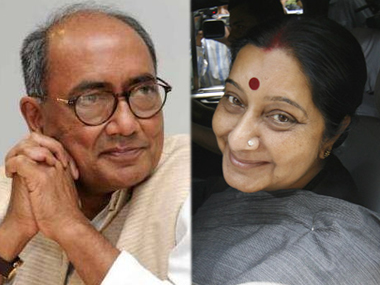 Congress General Secretary Digvijaya Singh and BJP leader Sushma Swaraj.