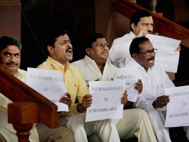 TDP MPs protest against bifuraction of Andhra Pradesh. PTI