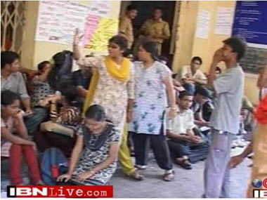 Students gherao Jadavpur University VC and pro-VC office in this screen grab from IBNLive.
