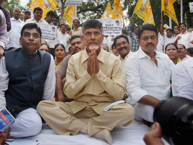 N Chandrababu Naidu during his fast in New Delhi. PTI