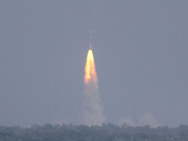 The PSLV-C25 rocket lifts off carrying India's Mars spacecraft from the island of Sriharikota. AP