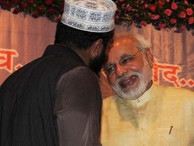 Narendra Modi meeting with Muslim politicians. AFP image