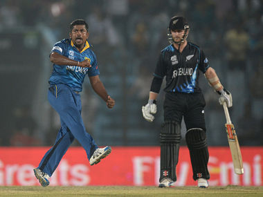 Rangana Herath of Sri Lanka celebrates dismissing Luke Ronchi of New Zealand during the ICC World Twenty20 Bangladesh 2014 Group 1 match between Sri Lanka and New Zealand. Getty Images