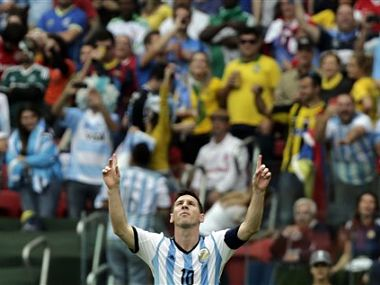 Argentina's Lionel Messi celebrates scoring his side's second goal against Nigeria. AP