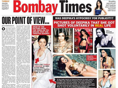 The Bombay Times page one.