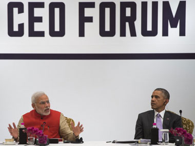 Narendra Modi and Barack Obama at the US CEO forum. AFP
