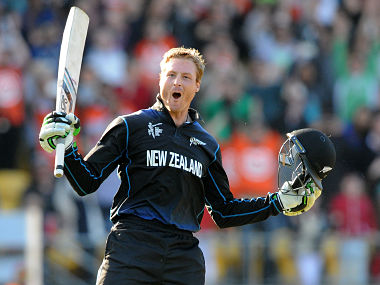 New Zealand''s Martin Guptill celebrates after scoring a double century. AP