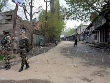 Security forces in the Tral area of the state. PTI image