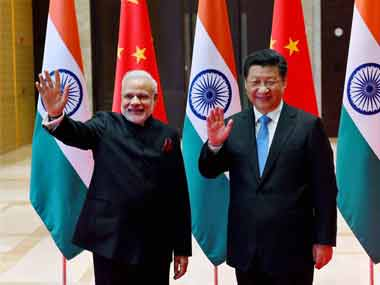 Modi and Jinping after talks on Thursday. PTI image