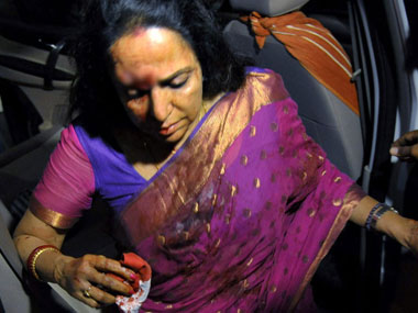 Hema Malini after the accident. PTI