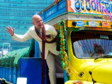 Amazon chief Jeff Bezos on his visit to India last year. Reuters