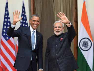 PM Modi with US President Obama. PTI