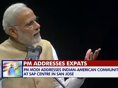 Modi at the San Jose venue. Screengrab
