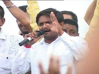 Hardik Patel speaks at a protest. Ibnlive
