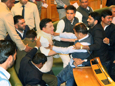 MLAs clash in the Jammu and Kashmir Assembly. PTI