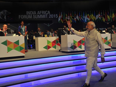 PM Narendra Modi at the India-Africa Forum Summit on Thursday. Twitter @PIB_India