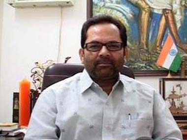 Union Minister Mukhtar Abbas Naqvi. Image courtesy ibnlive