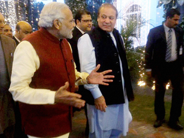 PM Narendra Modi and his Pakistani counterpart Nawaz Sharif in Lahore on 25 December 2015. PTI
