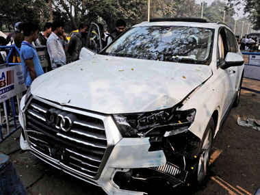The Audi car that broke three barricades before entering into Red Road and killing an Air Force airman who was participating in a rehearsal for the upcoming Republic Day on Wednesday. PTI