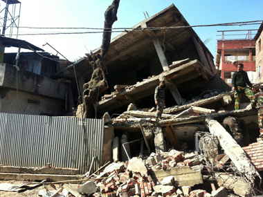 A scene from the earthquake in Manipur. AP