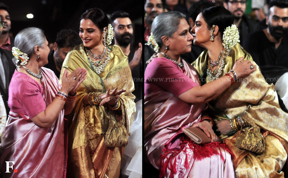 Jaya Bachchan and Rekha smile and hug at the Star Screen Awards. Sachin Gokhale/Firstpost