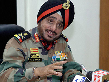Lieutenant General KJ Singh, General Officer, Commanding-in-Chief of the Western Command addresses a press conference. PTI